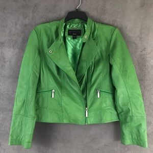 Bernardo- Green Leather Moto Jacket- Fabulous!